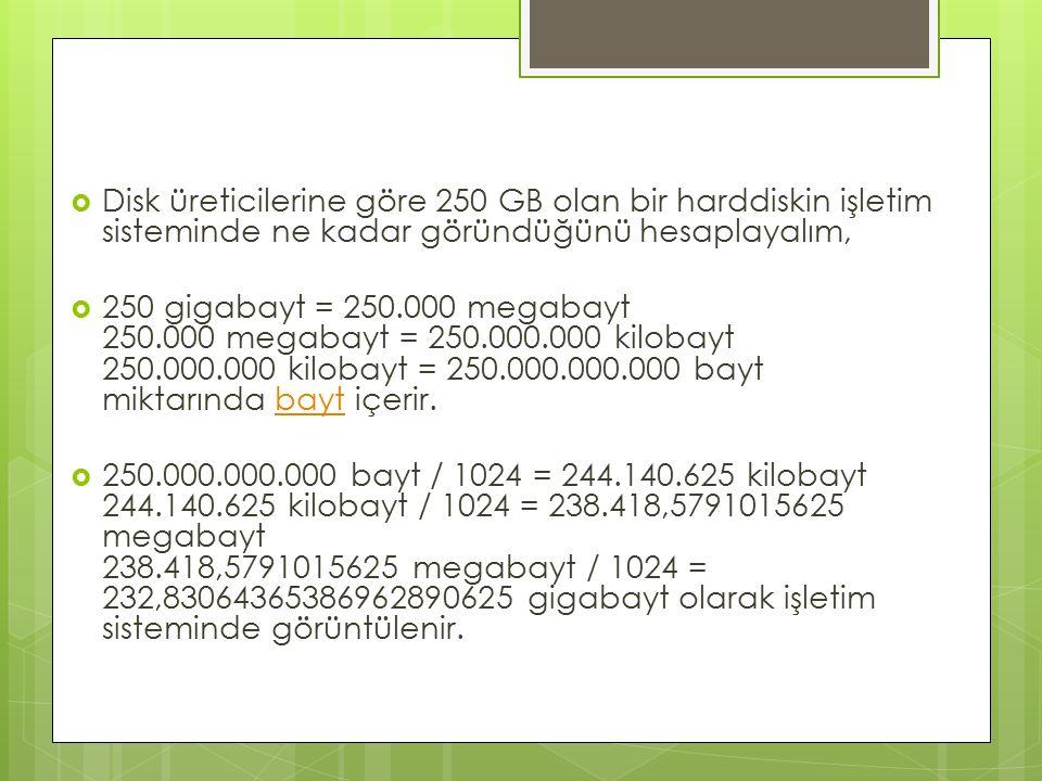  Disk üreticilerine göre 250 GB olan bir harddiskin işletim sisteminde ne kadar göründüğünü hesaplayalım,  250 gigabayt = 250.000 megabayt 250.000 megabayt = 250.000.000 kilobayt 250.000.000 kilobayt = 250.000.000.000 bayt miktarında bayt içerir.bayt  250.000.000.000 bayt / 1024 = 244.140.625 kilobayt 244.140.625 kilobayt / 1024 = 238.418,5791015625 megabayt 238.418,5791015625 megabayt / 1024 = 232,83064365386962890625 gigabayt olarak işletim sisteminde görüntülenir.