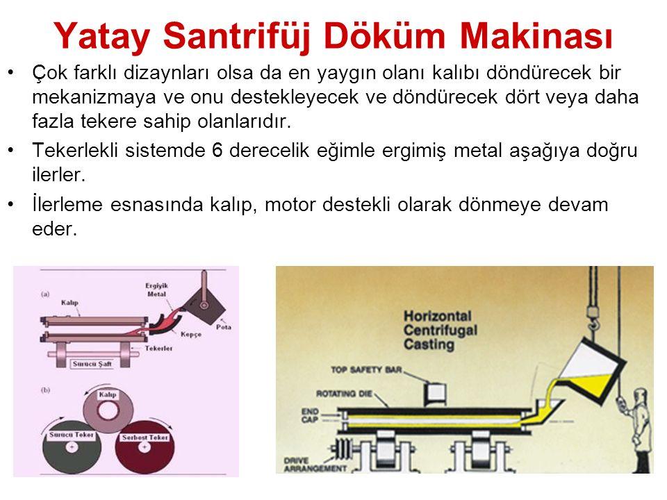 Yatay Santrifüj Döküm Makinası Çok farklı dizaynları olsa da en yaygın olanı kalıbı döndürecek bir mekanizmaya ve onu destekleyecek ve döndürecek dört veya daha fazla tekere sahip olanlarıdır.