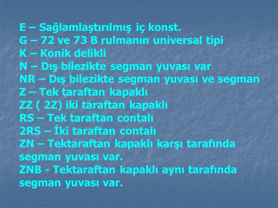 E – Sağlamlaştırılmış iç konst. G – 72 ve 73 B rulmanın universal tipi K – Konik delikli N – Dış bilezikte segman yuvası var NR – Dış bilezikte segman