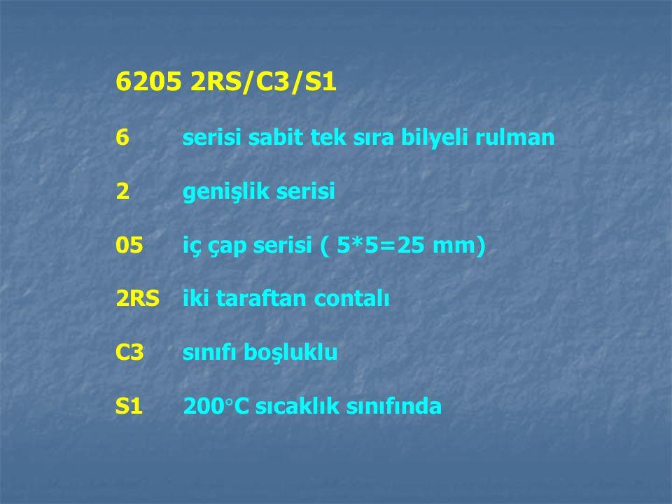 6205 2RS/C3/S1 6 serisi sabit tek sıra bilyeli rulman 2 genişlik serisi 05 iç çap serisi ( 5*5=25 mm) 2RS iki taraftan contalı C3 sınıfı boşluklu S1 2