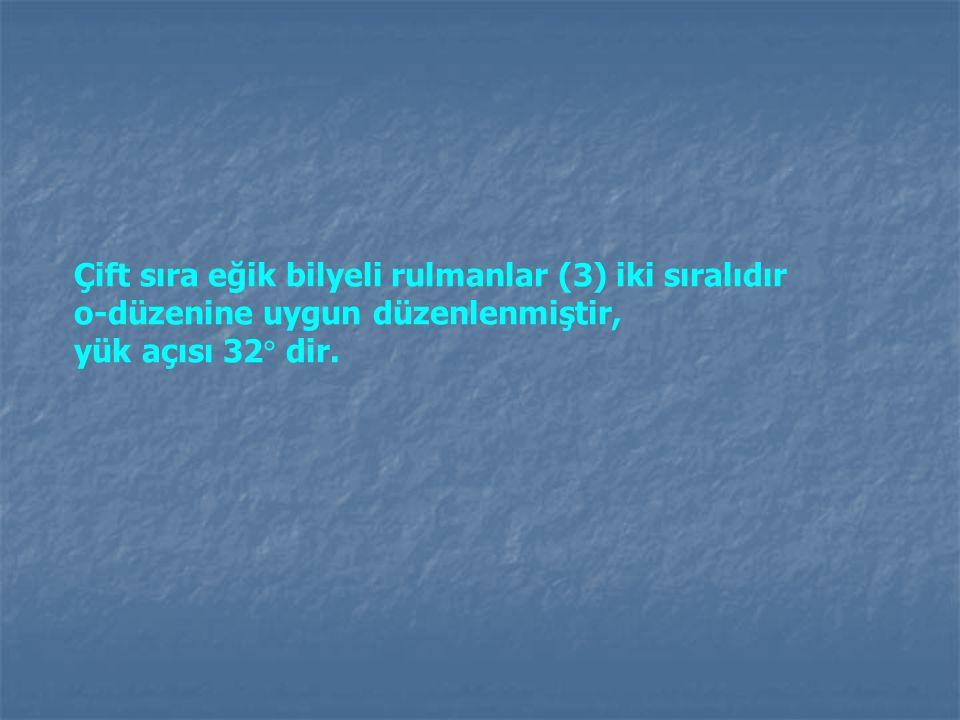 Çift sıra eğik bilyeli rulmanlar (3) iki sıralıdır o-düzenine uygun düzenlenmiştir, yük açısı 32  dir.