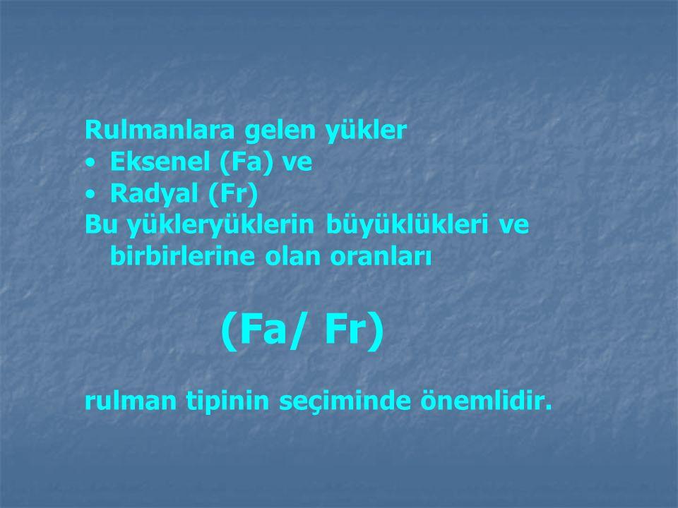 Rulmanlara gelen yükler Eksenel (Fa) ve Radyal (Fr) Bu yükleryüklerin büyüklükleri ve birbirlerine olan oranları (Fa/ Fr) rulman tipinin seçiminde öne