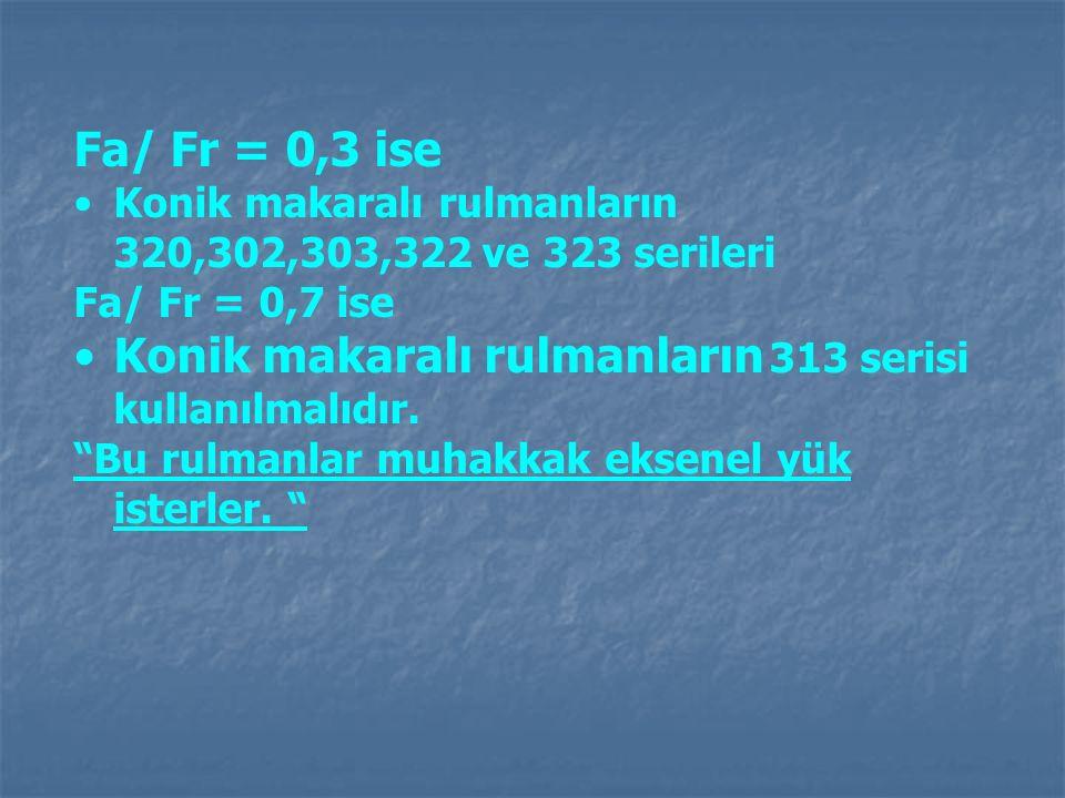 """Fa/ Fr = 0,3 ise Konik makaralı rulmanların 320,302,303,322 ve 323 serileri Fa/ Fr = 0,7 ise Konik makaralı rulmanların 313 serisi kullanılmalıdır. """"B"""