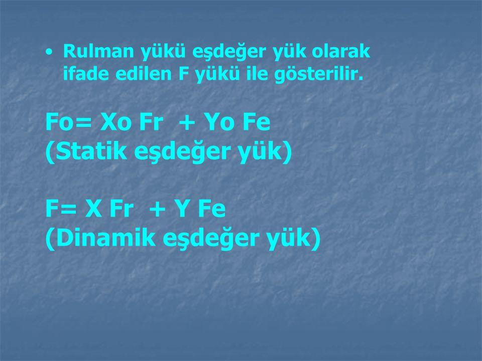Rulman yükü eşdeğer yük olarak ifade edilen F yükü ile gösterilir. Fo= Xo Fr + Yo Fe (Statik eşdeğer yük) F= X Fr + Y Fe (Dinamik eşdeğer yük)