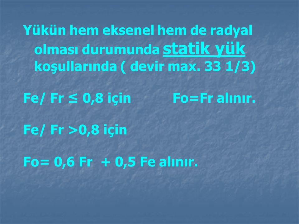 Yükün hem eksenel hem de radyal olması durumunda statik yük koşullarında ( devir max. 33 1/3) Fe/ Fr ≤ 0,8 için Fo=Fr alınır. Fe/ Fr >0,8 için Fo= 0,6