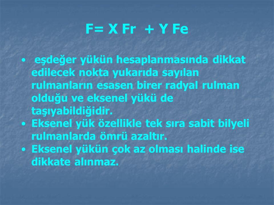 F= X Fr + Y Fe eşdeğer yükün hesaplanmasında dikkat edilecek nokta yukarıda sayılan rulmanların esasen birer radyal rulman olduğu ve eksenel yükü de t