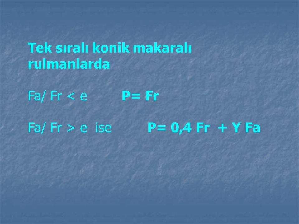Tek sıralı konik makaralı rulmanlarda Fa/ Fr < e P= Fr Fa/ Fr > e ise P= 0,4 Fr + Y Fa