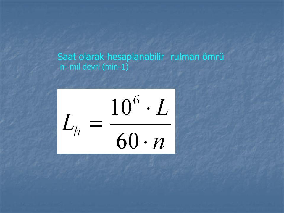 Saat olarak hesaplanabilir rulman ömrü n- mil devri (min-1)