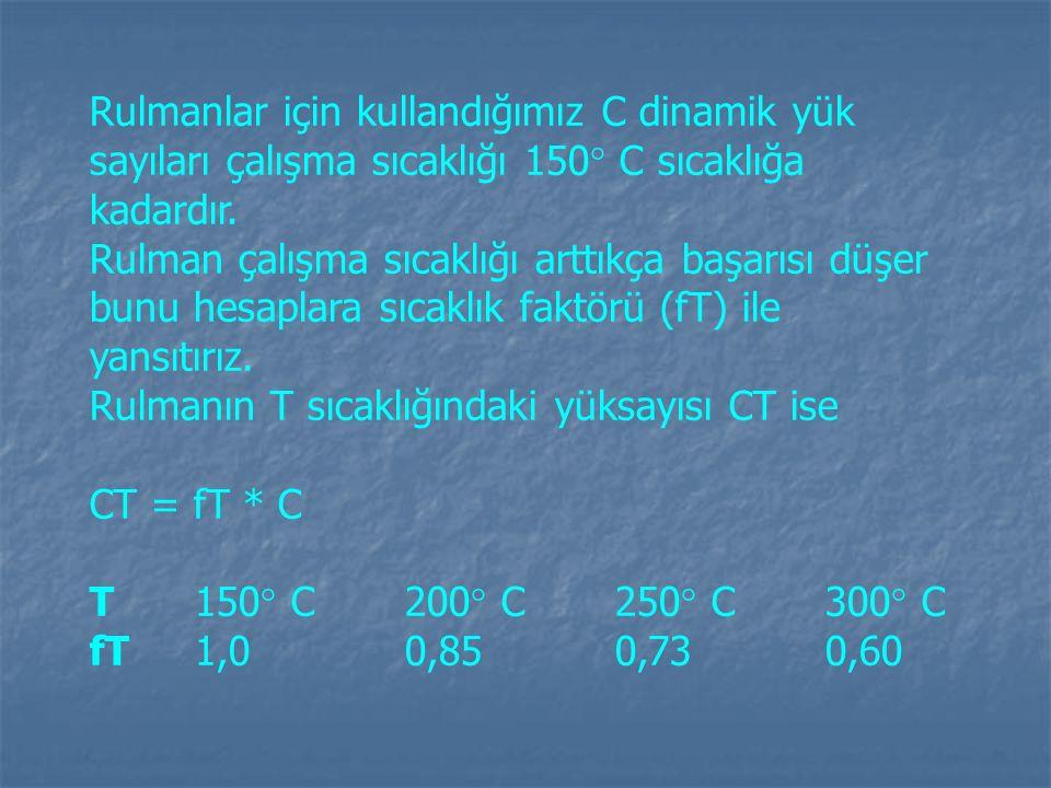 Rulmanlar için kullandığımız C dinamik yük sayıları çalışma sıcaklığı 150  C sıcaklığa kadardır. Rulman çalışma sıcaklığı arttıkça başarısı düşer bun