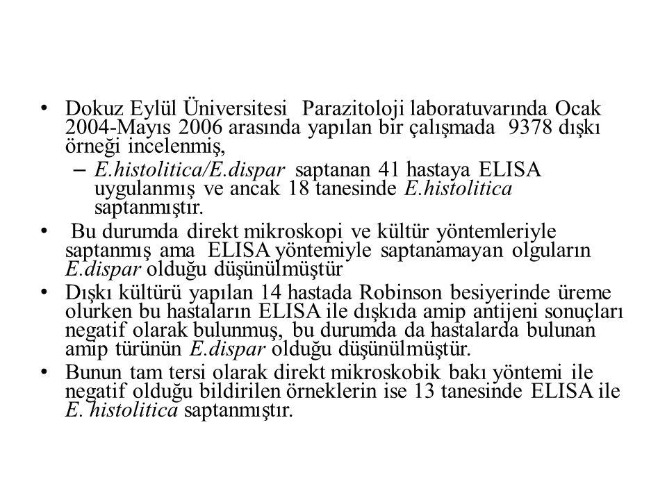 Dokuz Eylül Üniversitesi Parazitoloji laboratuvarında Ocak 2004-Mayıs 2006 arasında yapılan bir çalışmada 9378 dışkı örneği incelenmiş, – E.histolitica/E.dispar saptanan 41 hastaya ELISA uygulanmış ve ancak 18 tanesinde E.histolitica saptanmıştır.