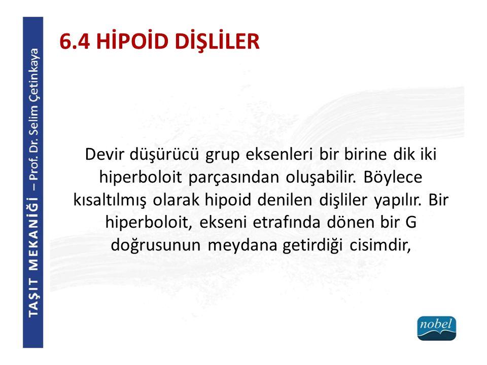 6.4 HİPOİD DİŞLİLER Devir düşürücü grup eksenleri bir birine dik iki hiperboloit parçasından oluşabilir. Böylece kısaltılmış olarak hipoid denilen diş