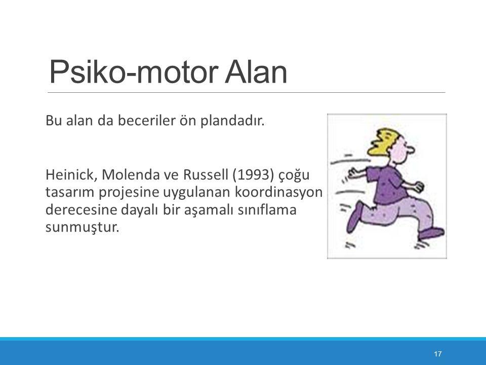 Psiko-motor Alan Bu alan da beceriler ön plandadır. Heinick, Molenda ve Russell (1993) çoğu tasarım projesine uygulanan koordinasyon derecesine dayalı