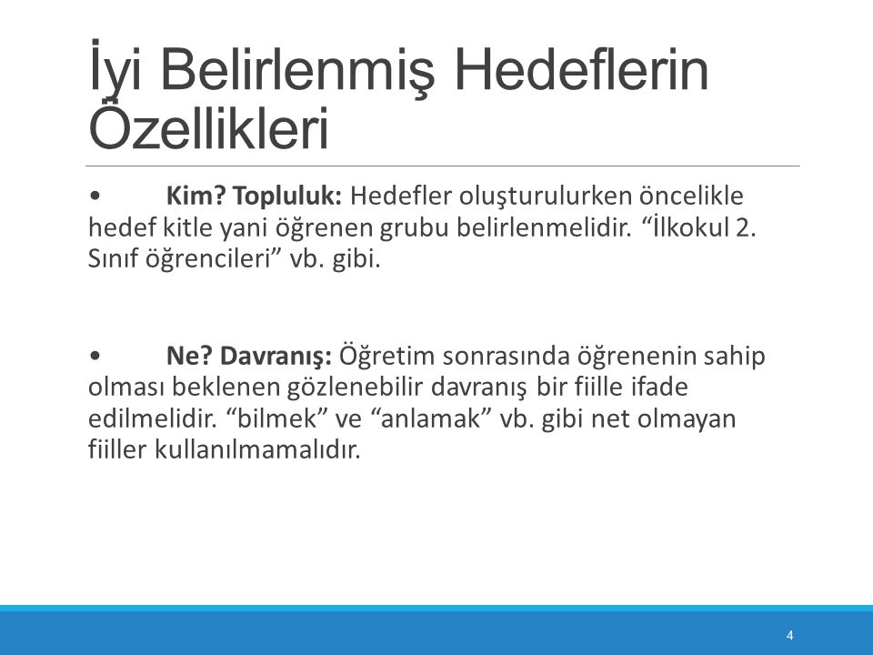BİLİŞSEL ALANDA HEDEFLERİN YAZILMASI 5.