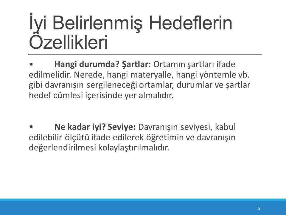 BİLİŞSEL ALANDA HEDEFLERİN YAZILMASI 6.