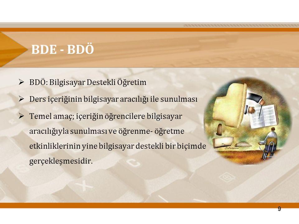 BDE - BDÖ  BDÖ: Bilgisayar Destekli Öğretim  Ders içeriğinin bilgisayar aracılığı ile sunulması  Temel amaç; içeriğin öğrencilere bilgisayar aracıl