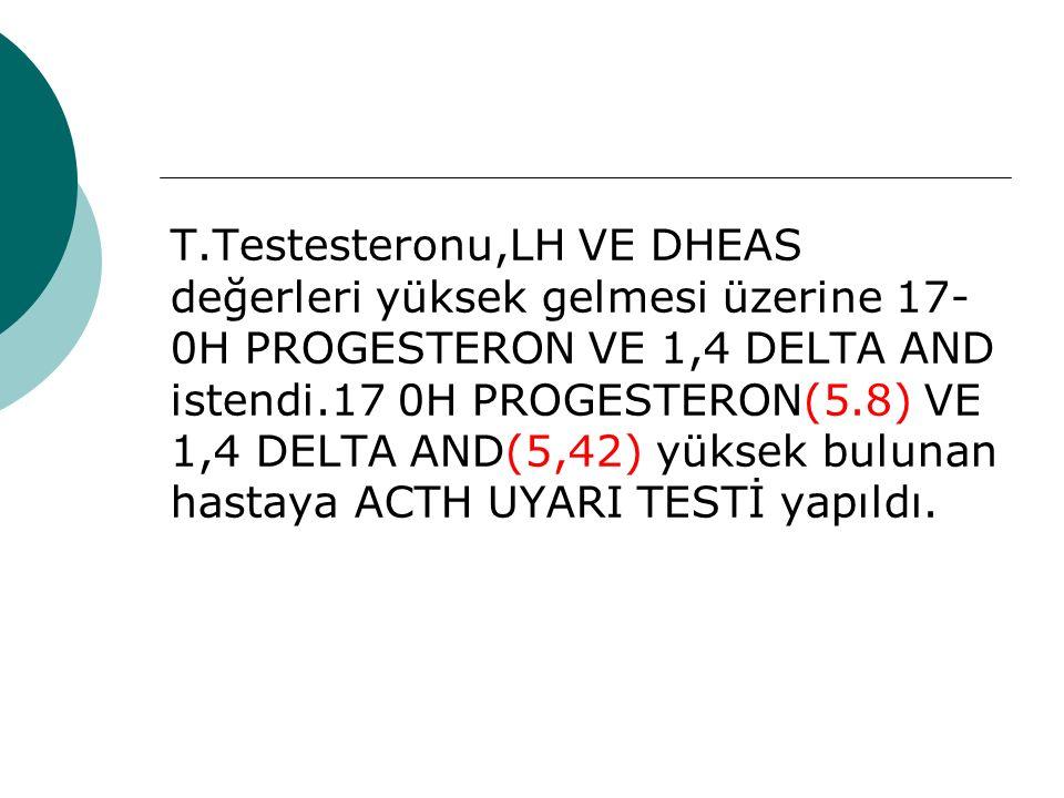 T.Testesteronu,LH VE DHEAS değerleri yüksek gelmesi üzerine 17- 0H PROGESTERON VE 1,4 DELTA AND istendi.17 0H PROGESTERON(5.8) VE 1,4 DELTA AND(5,42) yüksek bulunan hastaya ACTH UYARI TESTİ yapıldı.