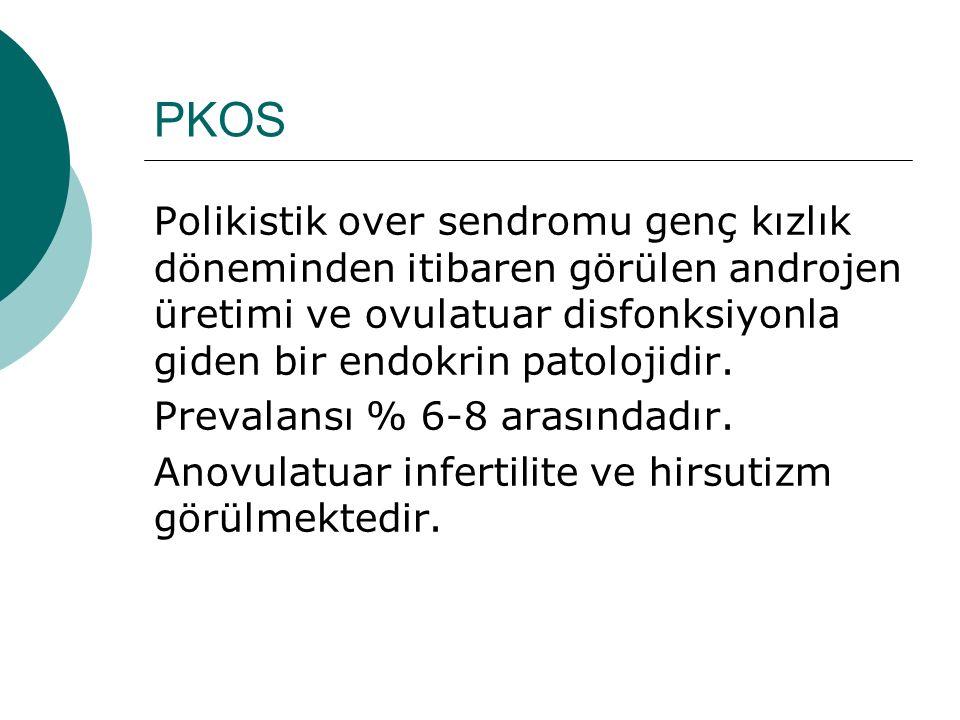 PKOS Polikistik over sendromu genç kızlık döneminden itibaren görülen androjen üretimi ve ovulatuar disfonksiyonla giden bir endokrin patolojidir.