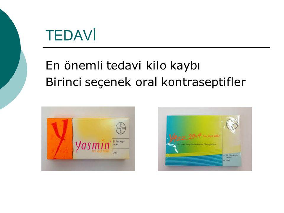 TEDAVİ En önemli tedavi kilo kaybı Birinci seçenek oral kontraseptifler