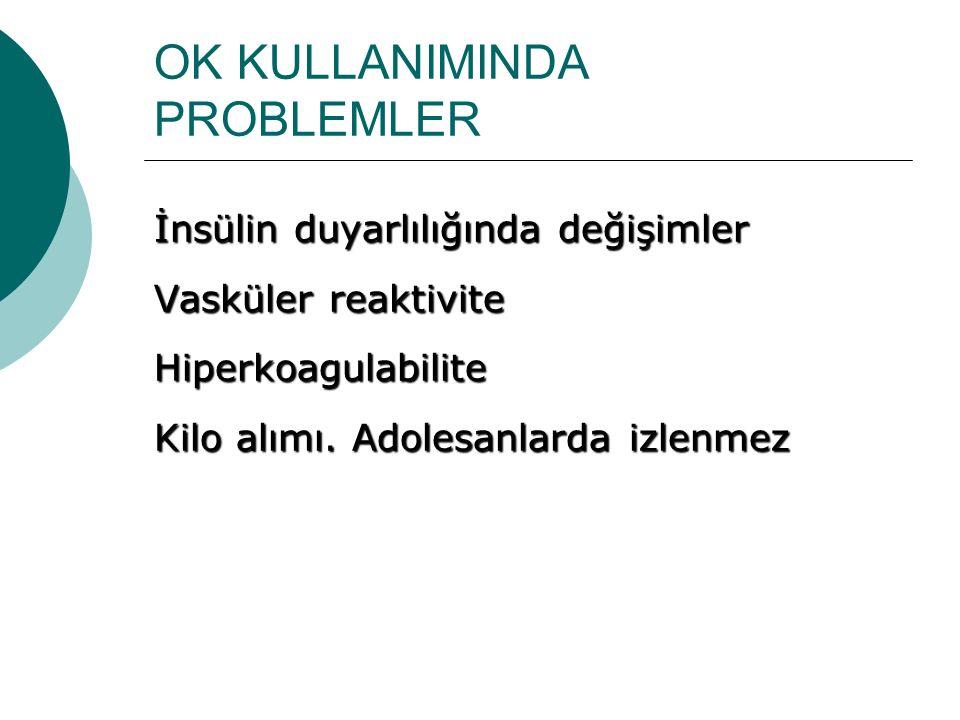 OK KULLANIMINDA PROBLEMLER İnsülin duyarlılığında değişimler Vasküler reaktivite Hiperkoagulabilite Kilo alımı.