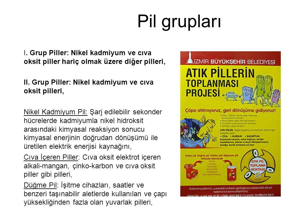 Pil grupları I. Grup Piller: Nikel kadmiyum ve cıva oksit piller hariç olmak üzere diğer pilleri, II. Grup Piller: Nikel kadmiyum ve cıva oksit piller