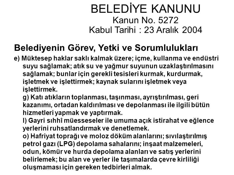 BELEDİYE KANUNU Kanun No. 5272 Kabul Tarihi : 23 Aralık 2004 Belediyenin Görev, Yetki ve Sorumlulukları e) Müktesep haklar saklı kalmak üzere; içme, k