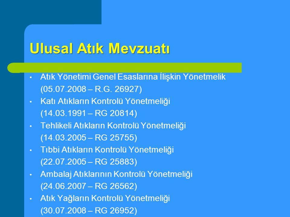 Ulusal Atık Mevzuatı Atık Pil ve Akümülatörlerin Kontrolü Yönetmeliği (31.08.2004 – RG 25569) Bitkisel Atık Yağların Kontrolü Yönetmeliği (19.04.2005 – RG 2579) Ömrünü Tamamlamış Lastiklerin Kontrolü Yönetmeliği Hafriyat Toprağı, İnşaat ve Yıkıntı Atıklarının Kontrolü Yönetmeliği Atıkların Ek Yakıt Olarak Kullanılmasında Uyulacak Genel Kurallar Hakkında Tebliği