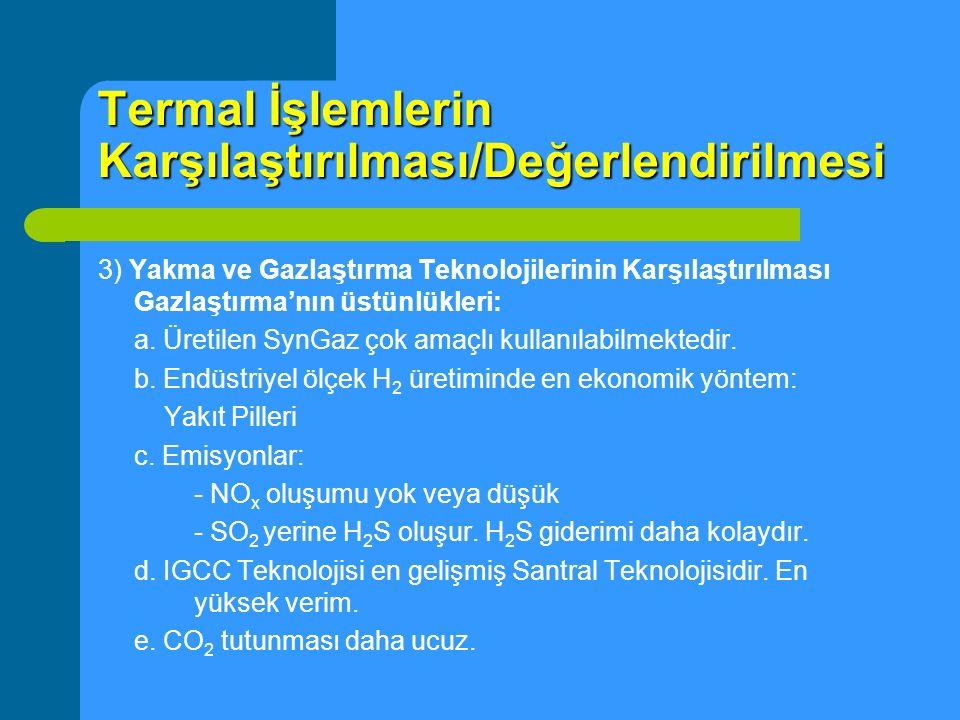 Termal İşlemlerin Karşılaştırılması/Değerlendirilmesi 3) Yakma ve Gazlaştırma Teknolojilerinin Karşılaştırılması Gazlaştırma'nın üstünlükleri: a. Üret