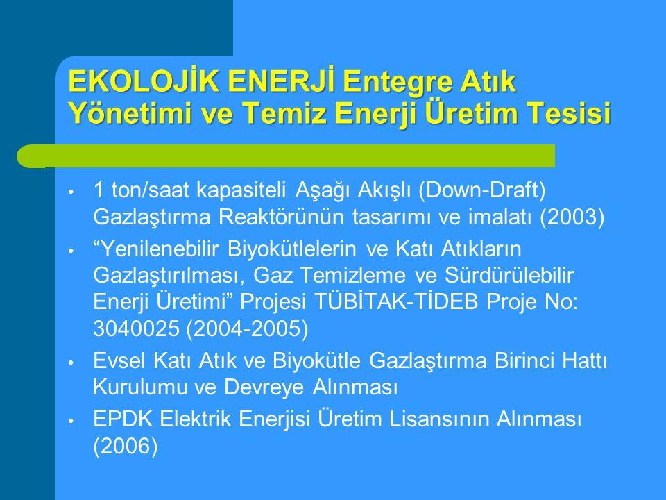 EKOLOJİK ENERJİ Entegre Atık Yönetimi ve Temiz Enerji Üretim Tesisi 1 ton/saat kapasiteli Aşağı Akışlı (Down-Draft) Gazlaştırma Reaktörünün tasarımı v