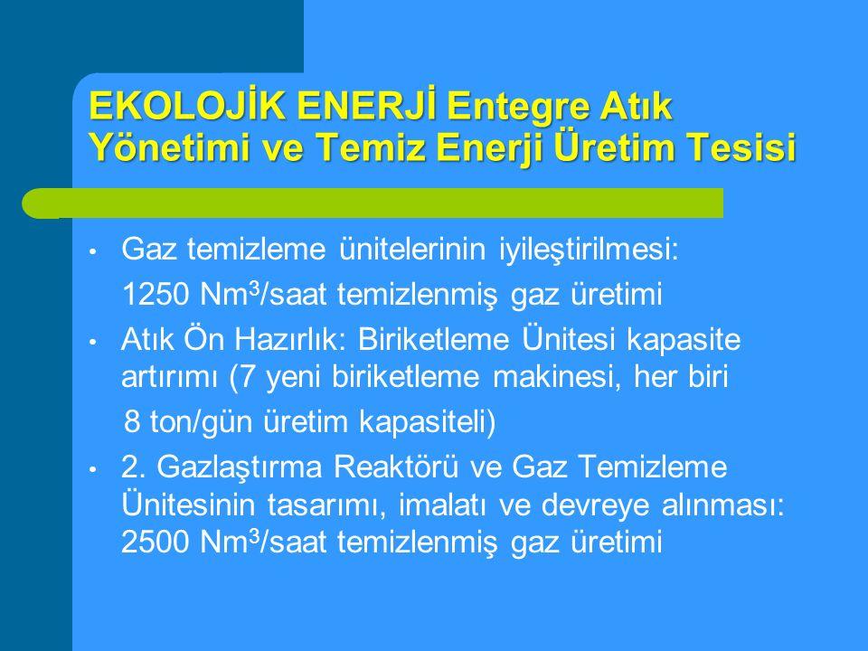 EKOLOJİK ENERJİ Entegre Atık Yönetimi ve Temiz Enerji Üretim Tesisi Gaz temizleme ünitelerinin iyileştirilmesi: 1250 Nm 3 /saat temizlenmiş gaz üretim