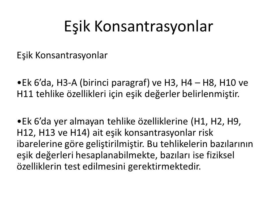 Eşik Konsantrasyonlar Ek 6'da, H3-A (birinci paragraf) ve H3, H4 – H8, H10 ve H11 tehlike özellikleri için eşik değerler belirlenmiştir. Ek 6'da yer a