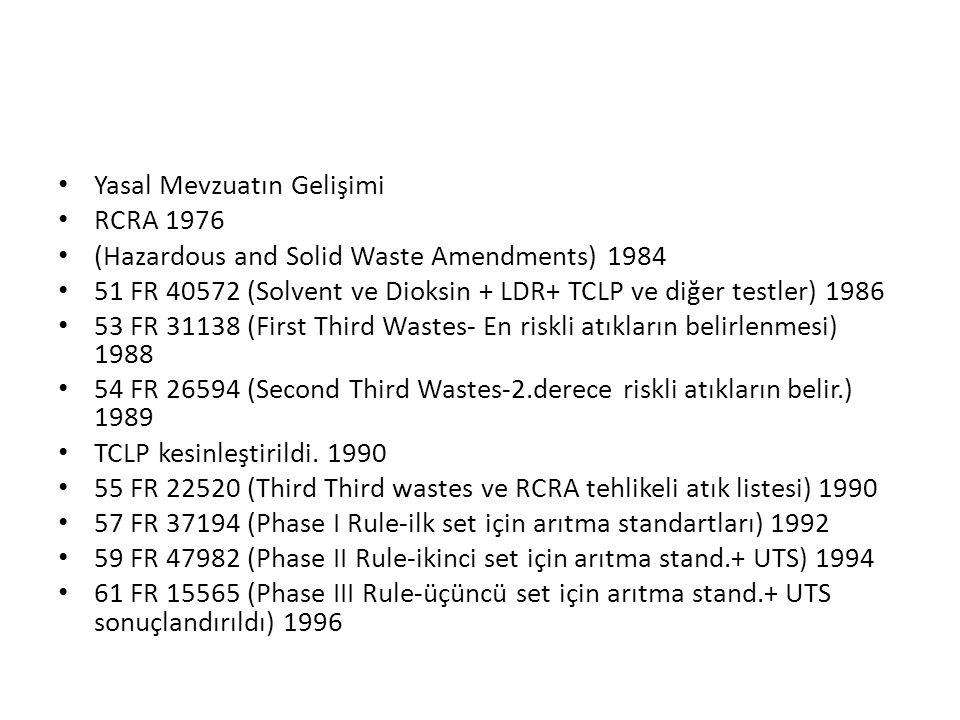Yasal Mevzuatın Gelişimi RCRA 1976 (Hazardous and Solid Waste Amendments) 1984 51 FR 40572 (Solvent ve Dioksin + LDR+ TCLP ve diğer testler) 1986 53 F