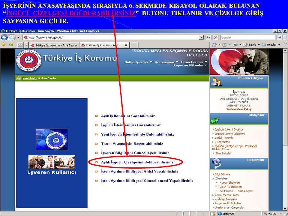 İŞYERİNİN ANASAYFASINDA SIRASIYLA 6.