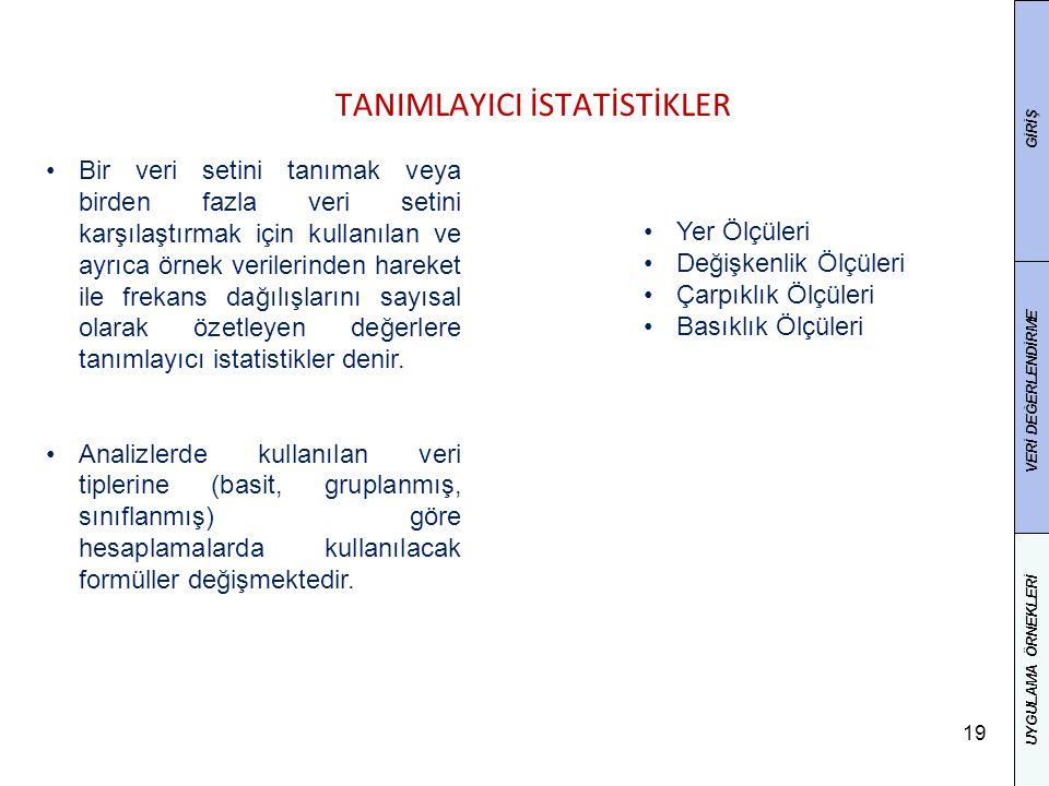 19 TANIMLAYICI İSTATİSTİKLER Bir veri setini tanımak veya birden fazla veri setini karşılaştırmak için kullanılan ve ayrıca örnek verilerinden hareket