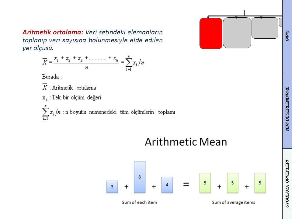 25 Aritmetik ortalama: Veri setindeki elemanların toplanıp veri sayısına bölünmesiyle elde edilen yer ölçüsü. GİRİŞ VERİ DEĞERLENDİRME UYGULAMA ÖRNEKL
