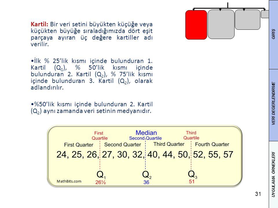 31 Kartil: Bir veri setini büyükten küçüğe veya küçükten büyüğe sıraladığımızda dört eşit parçaya ayıran üç değere kartiller adı verilir.