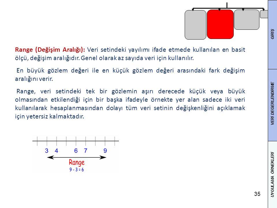 35 Range (Değişim Aralığı): Veri setindeki yayılımı ifade etmede kullanılan en basit ölçü, değişim aralığıdır. Genel olarak az sayıda veri için kullan