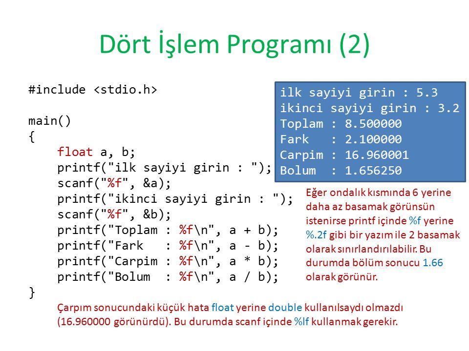 Dört İşlem Programı (2) #include main() { float a, b; printf(