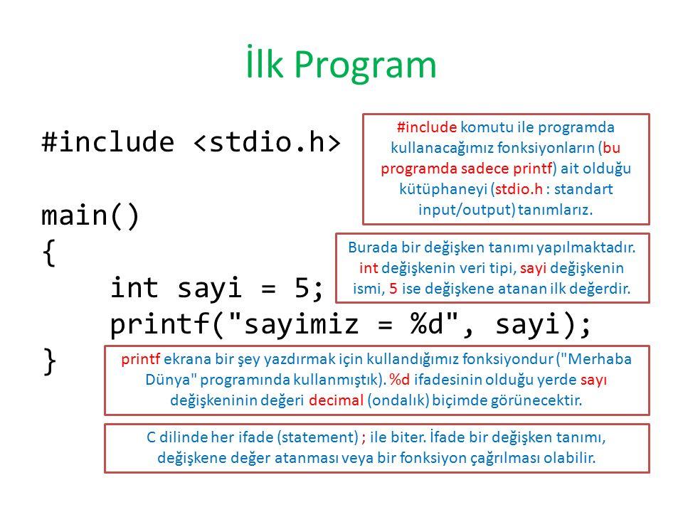 İlk Program #include main() { int sayi = 5; printf(