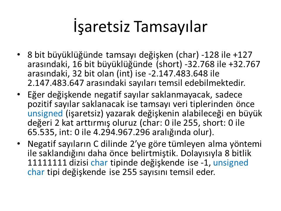 İşaretsiz Tamsayılar 8 bit büyüklüğünde tamsayı değişken (char) -128 ile +127 arasındaki, 16 bit büyüklüğünde (short) -32.768 ile +32.767 arasındaki,