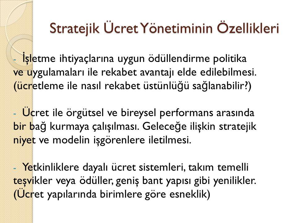 Stratejik Ücret Yönetiminin Özellikleri - İ şletme ihtiyaçlarına uygun ödüllendirme politika ve uygulamaları ile rekabet avantajı elde edilebilmesi.