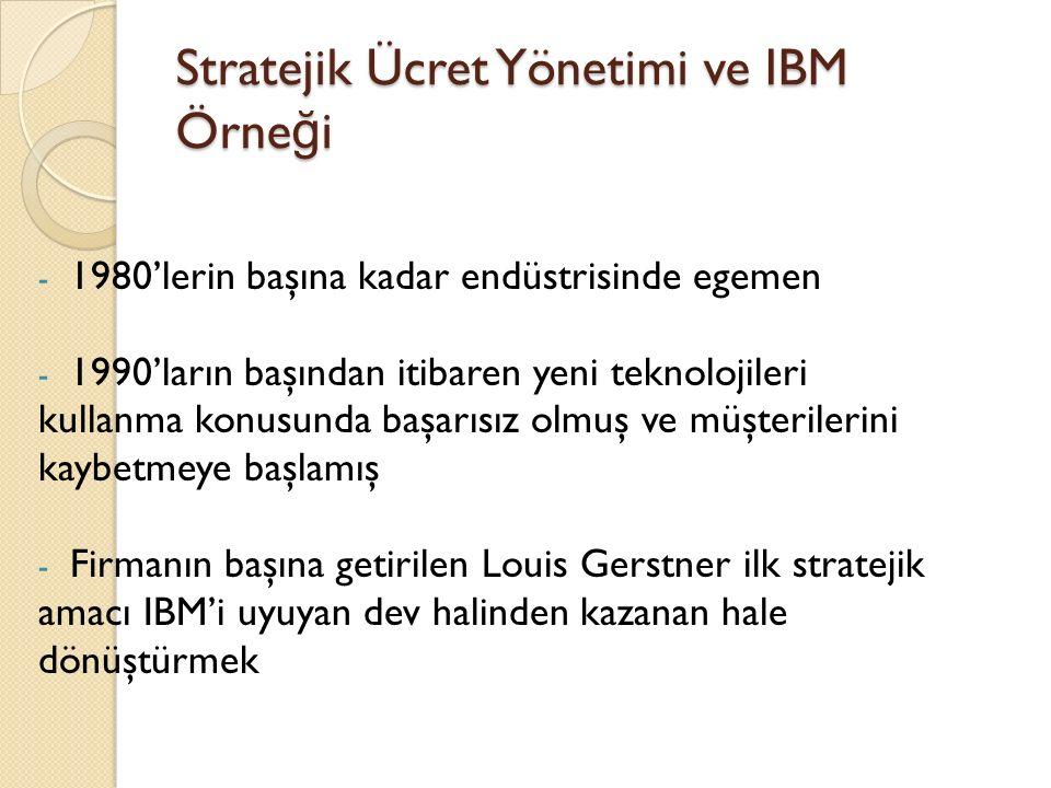 Stratejik Ücret Yönetimi ve IBM Örne ğ i - 1980'lerin başına kadar endüstrisinde egemen - 1990'ların başından itibaren yeni teknolojileri kullanma konusunda başarısız olmuş ve müşterilerini kaybetmeye başlamış - Firmanın başına getirilen Louis Gerstner ilk stratejik amacı IBM'i uyuyan dev halinden kazanan hale dönüştürmek