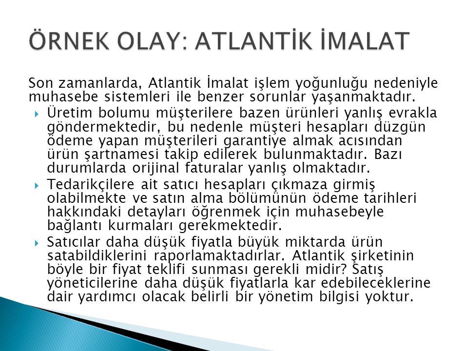 Son zamanlarda, Atlantik İmalat işlem yoğunluğu nedeniyle muhasebe sistemleri ile benzer sorunlar yaşanmaktadır.
