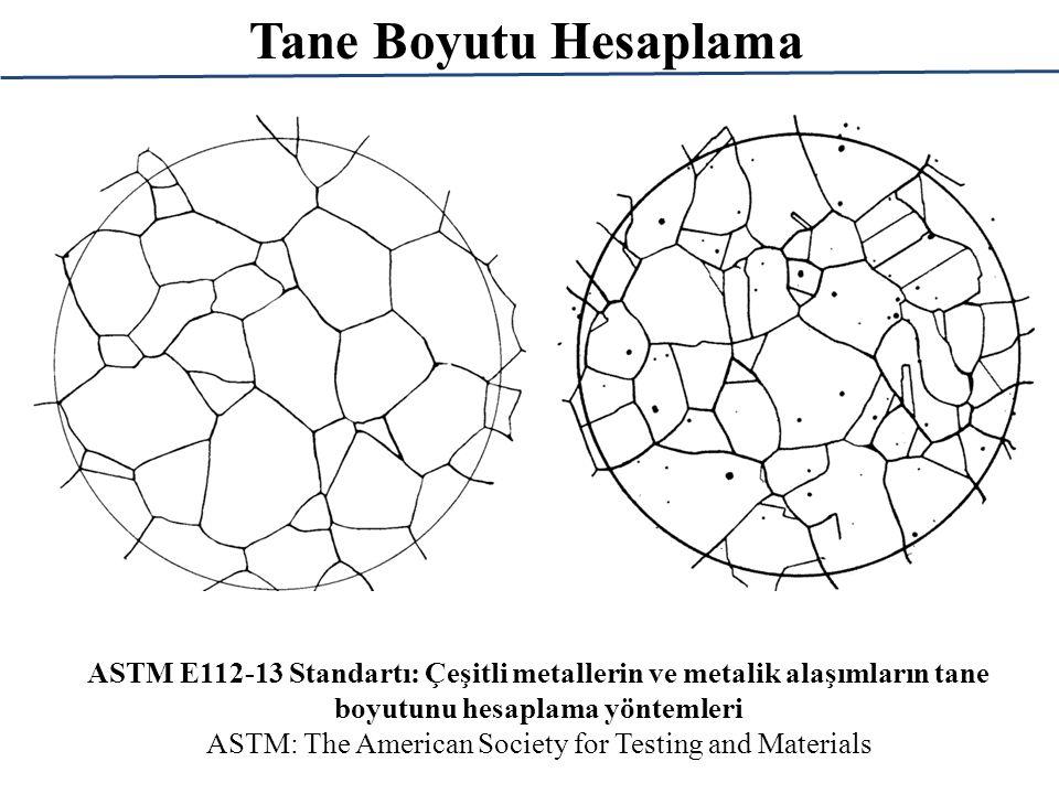 Tane Boyutu Hesaplama ASTM E112-13 Standartı: Çeşitli metallerin ve metalik alaşımların tane boyutunu hesaplama yöntemleri ASTM: The American Society