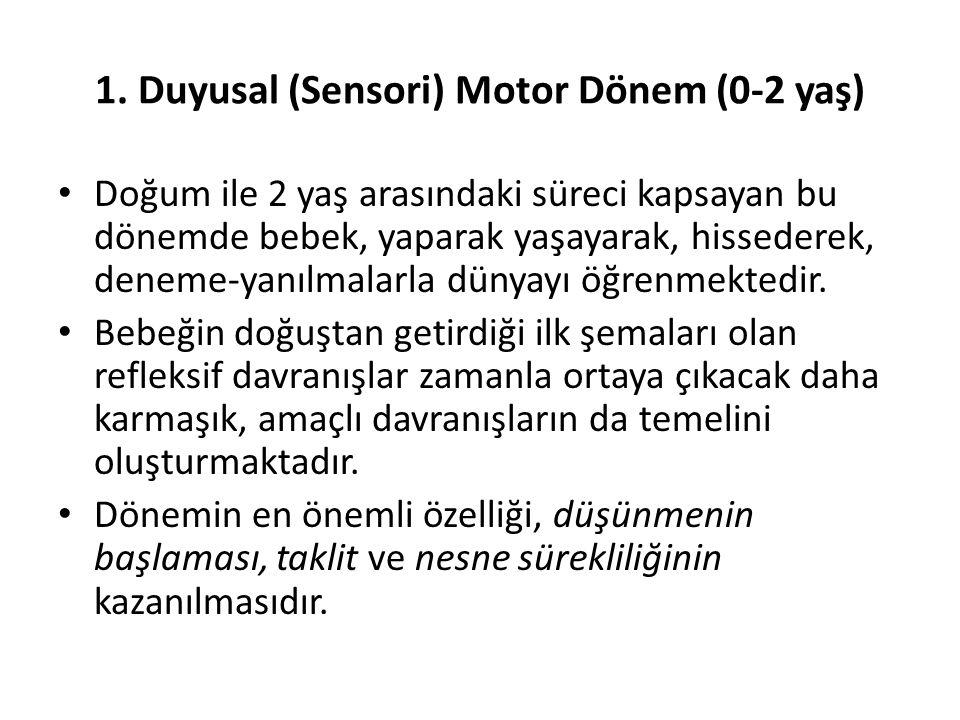 1. Duyusal (Sensori) Motor Dönem (0-2 yaş) Doğum ile 2 yaş arasındaki süreci kapsayan bu dönemde bebek, yaparak yaşayarak, hissederek, deneme-yanılmal