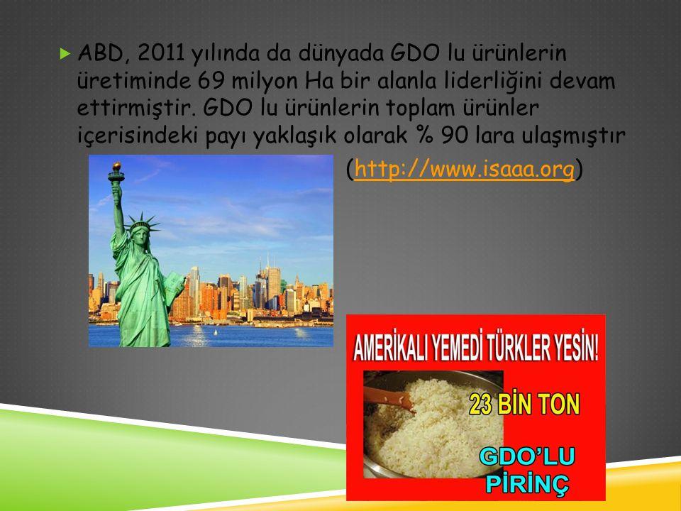  ABD, 2011 yılında da dünyada GDO lu ürünlerin üretiminde 69 milyon Ha bir alanla liderliğini devam ettirmiştir. GDO lu ürünlerin toplam ürünler içer
