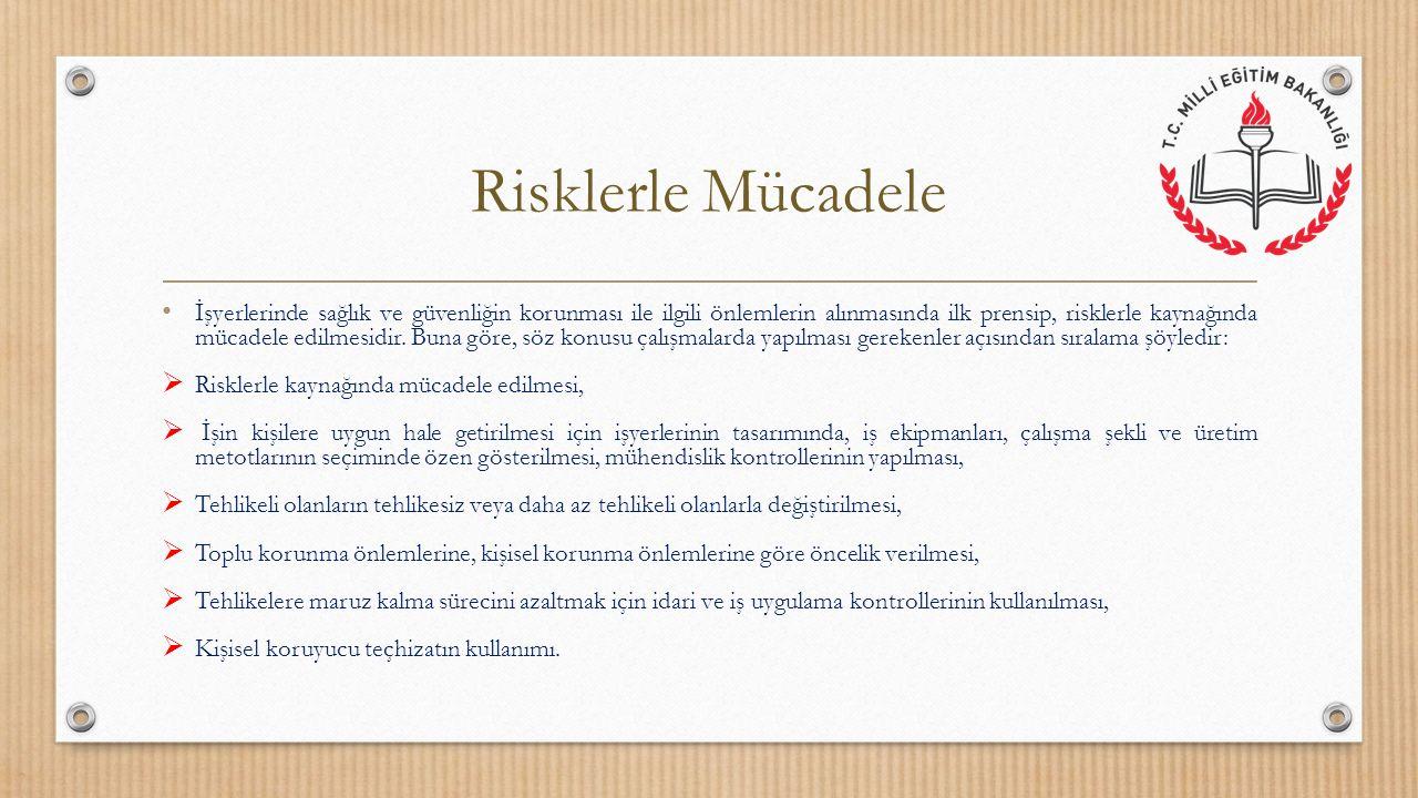 Risklerle Mücadele Sonuç olarak kişisel koruyucular, eğer riskleri azaltmak için mühendislik çözümleri veya idari kontrollere başvurulmuş, fakat yine de riskler önlenememiş ya da istenilen düzeyde sınırlandırılamamışsa kullanılırlar.