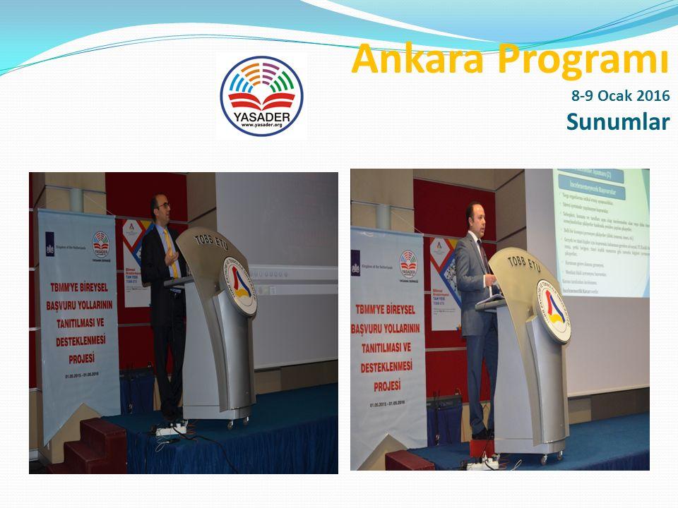 Ankara Programı 8-9 Ocak 2016 Programımıza destek sağlayan TOBB ETÜ Üniversitesine, Öğretim Üyeleri Yrd.