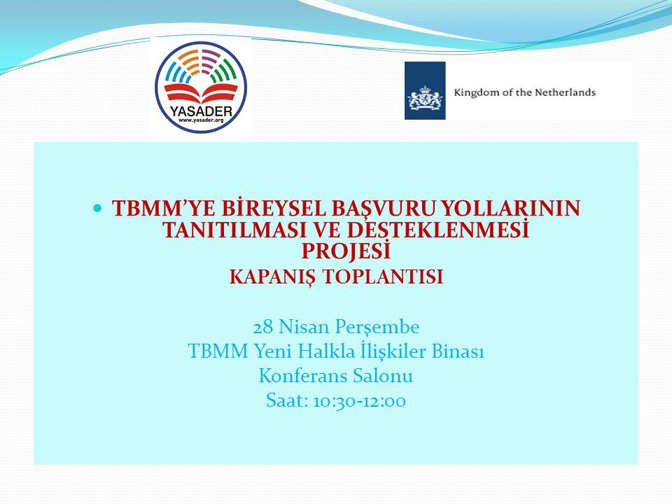 Proje sonucunda, TBMM'ye Bireysel Başvuru Yolları El Kitabı basılacaktır.