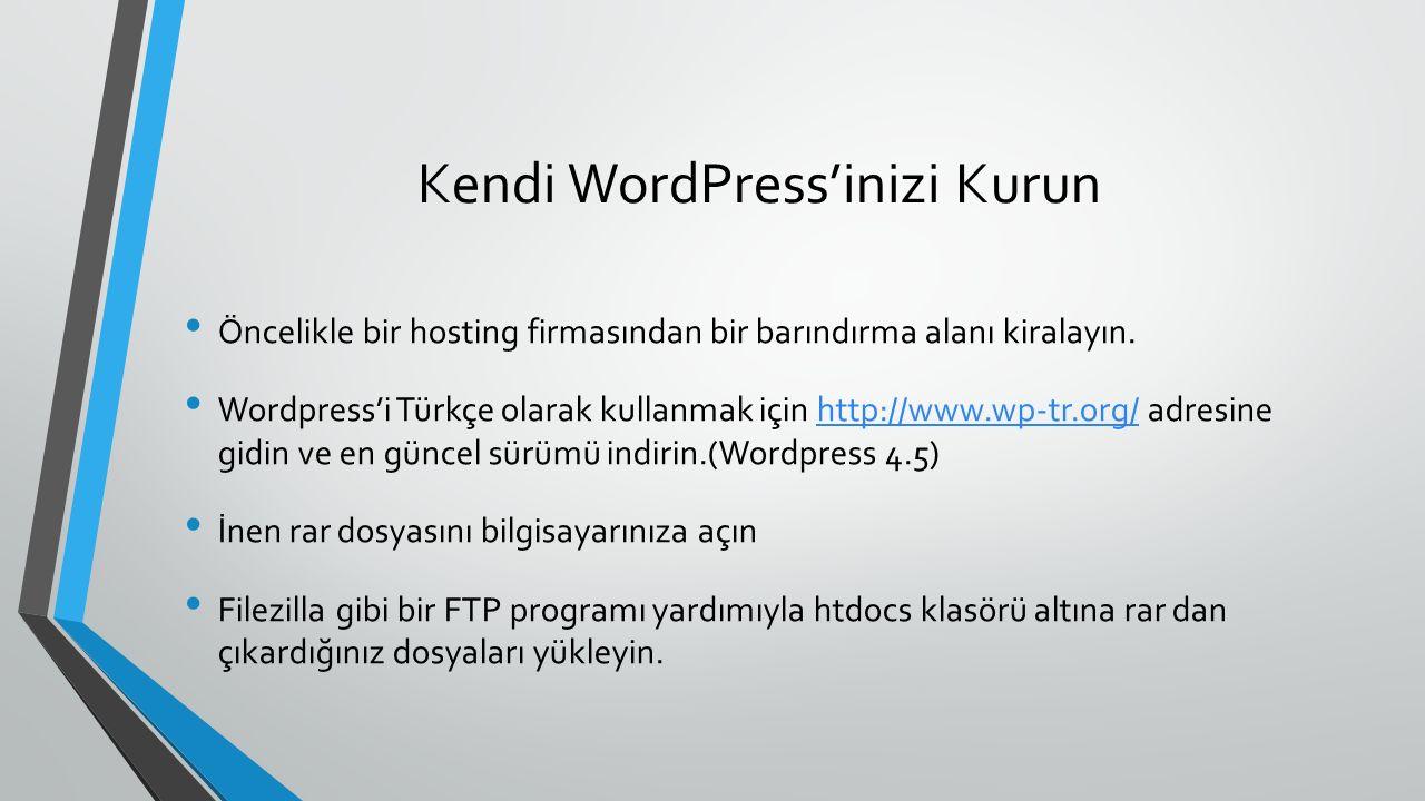 Kendi WordPress'inizi Kurun Öncelikle bir hosting firmasından bir barındırma alanı kiralayın.