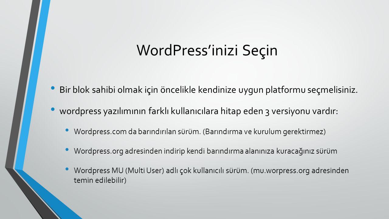 WordPress'inizi Seçin Wordpress 'in hangi sürümünü seçerseniz seçin şu özelliklerin hepsine sahip olursunuz: Hızlı ve kolay kurulum Kullanımı kolay web ara birimi sayesinde kolay blog yazımı Yazıların kategoriler aracılığı ile konulara göre arşivlenmesi Yazılarınızın aylara göre arşivlenmesi Yorum ve geri besleme araçları